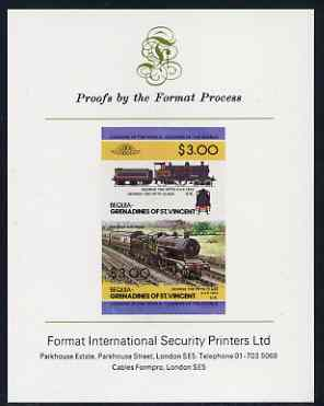 St Vincent - Bequia 1984 Locomotives #2 (Leaders of the World) $3.00 (4-4-0 George the Fifth) imperf se-tenant proof pair mounted on Format International proof card