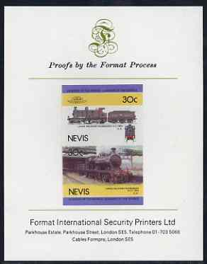 Nevis 1985 Locomotives #4 (Leaders of the World) Belpaire 4-4-0 30c imperf se-tenant proof pair mounted on Format International proof card