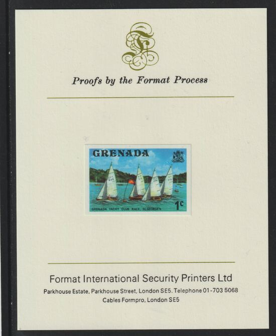 Grenada 1975 Yacht Club Race 1c imperf proof mounted on Format International proof card (as SG 650)
