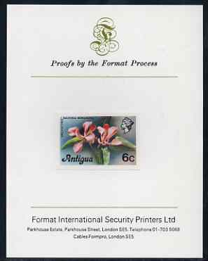 Antigua 1976 Orchid Tree 6c (without imprint) imperf proof mounted on Format International proof card (as SG 475A)