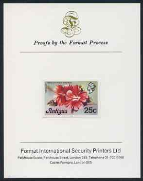 Antigua 1976 Hibiscus 25c (with imprint) imperf proof mounted on Format International proof card (as SG 479B)