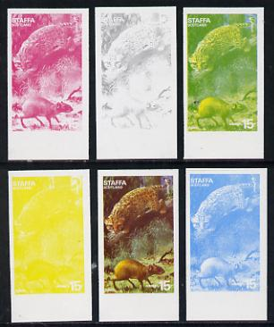 Staffa 1977 Wild Animals 15p (Agouti & Ocelot) set of 6 imperf progressive colour proofs comprising the 4 individual colours plus 2 and all 4-colour composites unmounted mint
