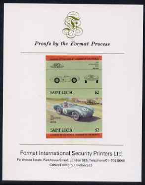 St Lucia 1984 Cars #2 (Leaders of the World) $2 Aston Martin DB3S (1954) imperf se-tenant proof pair mounted on Format International proof card