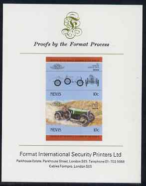 Nevis 1985 10c Sunbeam Coupe (1912) imperf se-tenant proof pair mounted on Format International proof card (as SG 326a)