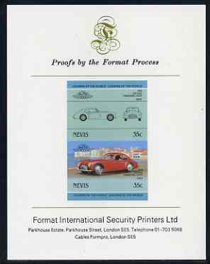 Nevis 1985 35c Cisitalia Coupe (1948) imperf se-tenant proof pair mounted on Format International proof card (as SG 328a), stamps on cars
