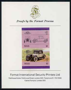 Nevis 1985 $2 Pontiac 2-door (1926) imperf se-tenant proof pair mounted on Format International proof card (as SG 336a)