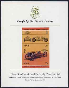 Nevis 1985 75c Ford 999 (1904) imperf se-tenant proof pair mounted on Format International proof card (as SG 259a)