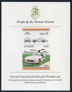 St Vincent 1983 $1.50 Mercedes Benz 300SL (1954) imperf se-tenant proof pair mounted on Format International proof card (as SG 733a)