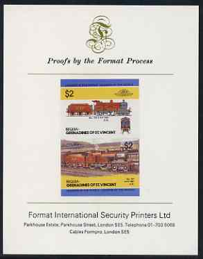 St Vincent - Bequia 1985 Locomotives #3 (Leaders of the World) $2 (4-4-0 Loco 737) imperf se-tenant proof pair mounted on Format International proof card