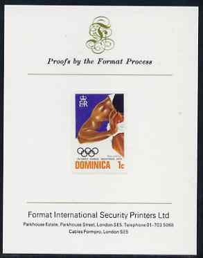 Dominica 1976 Olympic Games 1c (Shot Putt) imperf proof mounted on Format International proof card (as SG 516var)
