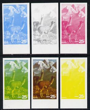 Staffa 1977 Wild Animals 25p (Guanaco & Llama) set of 6 imperf progressive colour proofs comprising the 4 individual colours plus 2 and all 4-colour composites unmounted ...