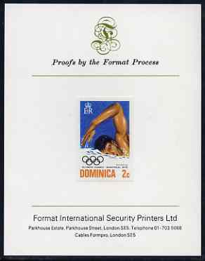 Dominica 1976 Olympic Games 2c (Swimming) imperf proof mounted on Format International proof card (as SG 517)