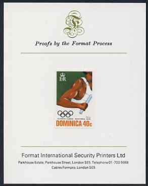Dominica 1976 Olympic Games 40c (Relay) imperf proof mounted on Format International proof card (as SG 518)