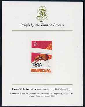 Dominica 1976 Olympic Games 60c (Sailing) imperf proof mounted on Format International proof card (as SG 520)