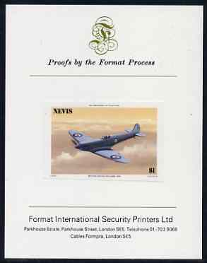 Nevis 1986 Spitfire $1 (Prototype K-5054) imperf proof mounted on Format International proof card (as SG 372)