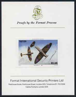 Nevis 1986 Spitfire $2.50 (Mark 1A in Battle of Britain) imperf proof mounted on Format International proof card (as SG 373)