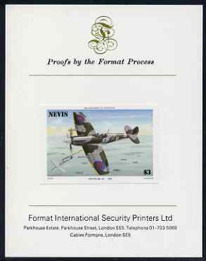 Nevis 1986 Spitfire $3 (Mark XII) imperf proof mounted on Format International proof card (as SG 374)