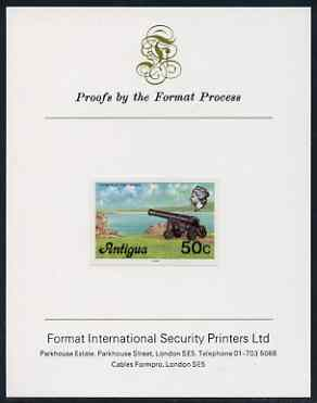 Antigua 1976 Cannon 50c (with imprint) imperf proof mounted on Format International proof card (as SG 481B)