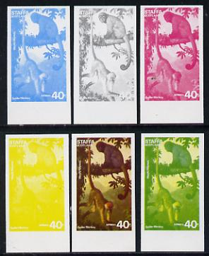 Staffa 1977 Wild Animals 40p (Spider & Woolly Monkeys) set of 6 imperf progressive colour proofs comprising the 4 individual colours plus 2 and all 4-colour composites unmounted mint
