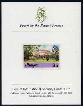 Antigua 1976 Government House $5 (with imprint) imperf proof mounted on Format International proof card (as SG 485B)