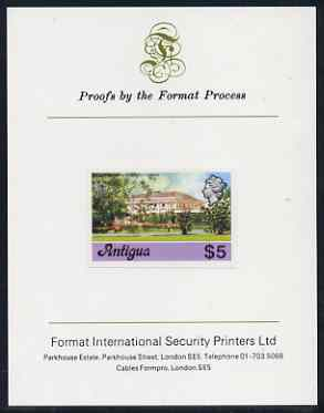 Antigua 1976 Government House $5 (without imprint) imperf proof mounted on Format International proof card (as SG 485A)