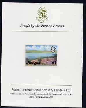 Antigua 1976 Potworks Dam $1 (without imprint) imperf proof mounted on Format International proof card (as SG 483A)