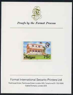 Antigua 1976 Premier's Office 75c (with imprint) imperf proof mounted on Format International proof card (as SG 482B)