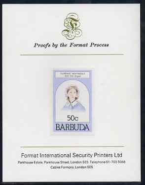 Barbuda 1981 Florence Nightingale 50c imperf proof mounted on Format International proof card (as SG 546)