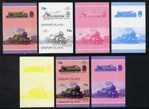 Davaar Island 1983 Locomotives #1 L&SW Class H16 4-6-2T loco 18p set of 7 imperf se-tenant progressive colour proofs comprising the 4 individual colours plus 2, 3 and all 4-colour composites unmounted mint