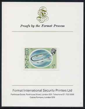 Dominica 1975-78 Gare Fish 5c imperf proof mounted on Format International proof card (as SG 495)