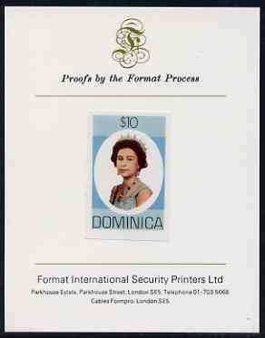 Dominica 1975-78 Queen Elizabeth II $10 imperf proof mounted on Format International proof card (as SG 507)