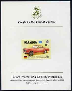 Gambia 1987 Ameripex 1d (1957 Borgward Isabella Coupe) imperf proof mounted on Format International proof card, as SG 652, stamps on cars, stamps on stamp exhibitions