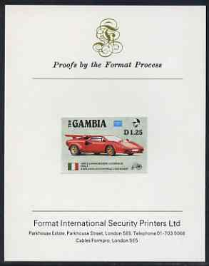 Gambia 1987 Ameripex 1d25 (1985 Lamborghini) imperf proof mounted on Format International proof card, as SG 653