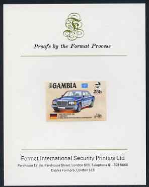 Gambia 1987 Ameripex 25b (Mercedes 500) imperf proof mounted on Format International proof card as SG 650