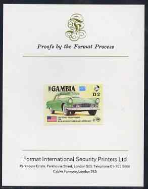 Gambia 1987 Ameripex 2d (1955 Ford Thunderbird) imperf proof mounted on Format International proof card, as SG 654