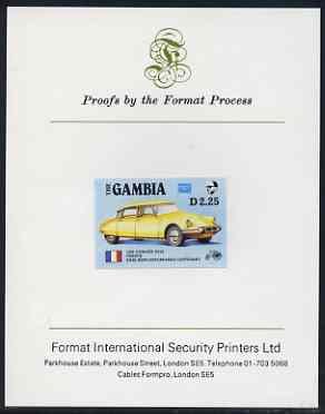 Gambia 1987 Ameripex 2d25 (1956 Citroen DS19) imperf proof mounted on Format International proof card, as SG 655