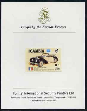 Gambia 1987 Ameripex 5d (1936 Bugatti) imperf proof mounted on Format International proof card, as SG 656
