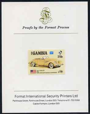 Gambia 1987 Ameripex 75b (1935 Cord 810) imperf proof mounted on Format International proof card, as SG 651