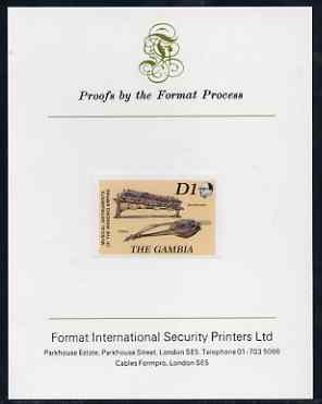 Gambia 1987 Musical Instruments 1d (Balaphong & Fiddle) imperf proof mounted on Format International proof card as SG 687