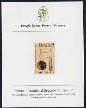 Gambia 1987 Musical Instruments 1d25 (Bolongbato & Konting) imperf proof mounted on Format International proof card as SG 688