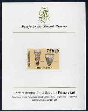 Gambia 1987 Musical Instruments 75b (Bugarab & Tabala) imperf proof mounted on Format International proof card as SG 686