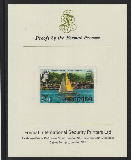 Grenada 1968-71 Yachting 75c imperf proof mounted on Format International proof card (as SG 317a)