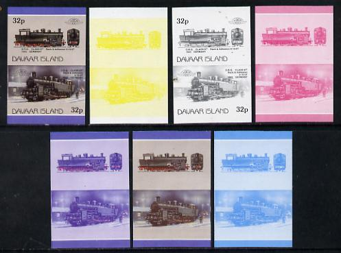 Davaar Island 1983 Locomotives #1 DRG Class 97 0-10-0 loco 32p set of 7 imperf se-tenant progressive colour proofs comprising the 4 individual colours plus 2, 3 and all 4-colour composites unmounted mint, stamps on railways