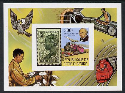 Ivory Coast 1979 Rowland Hill imperf m/sheet unmounted mint