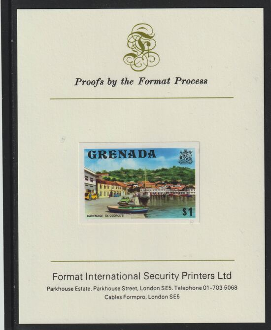 Grenada 1975 Carenage $1 imperf proof mounted on Format International proof card (as SG 664)