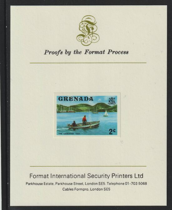 Grenada 1975 Carenage Taxi 2c imperf proof mounted on Format International proof card (as SG 651)