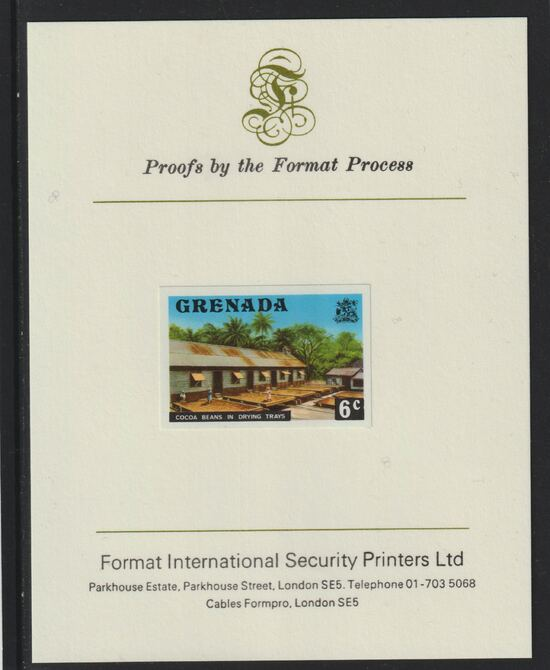 Grenada 1975 Cocoa Beans 6c imperf proof mounted on Format International proof card (as SG 654)