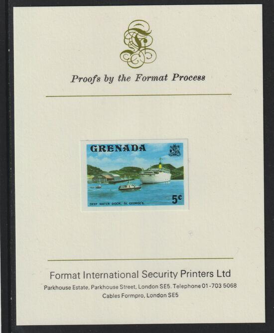 Grenada 1975 Deep Water Dock 5c imperf proof mounted on Format International proof card (as SG 653)