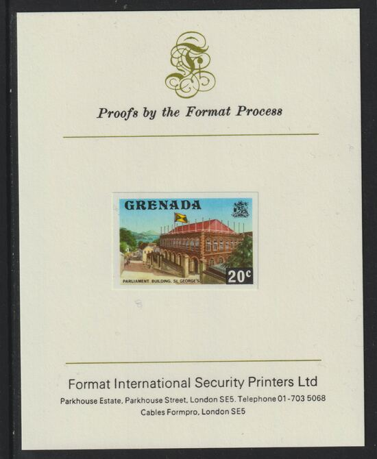 Grenada 1975 Parliament Building 20c imperf proof mounted on Format International proof card (as SG 659)