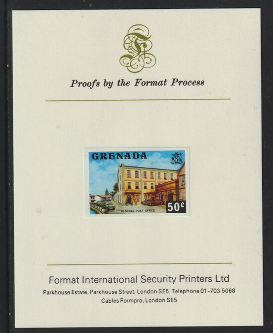Grenada 1975 Post Office 50c imperf proof mounted on Format International proof card (as SG 662)